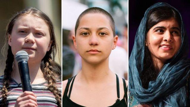 Greta Thunberg, Emma Gonzalez, Malala Yousafzai