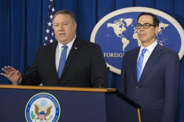 ABD Dışişleri Bakanı Mike Pompeo ve ABD Hazine Bakanı Steven Mnuchin