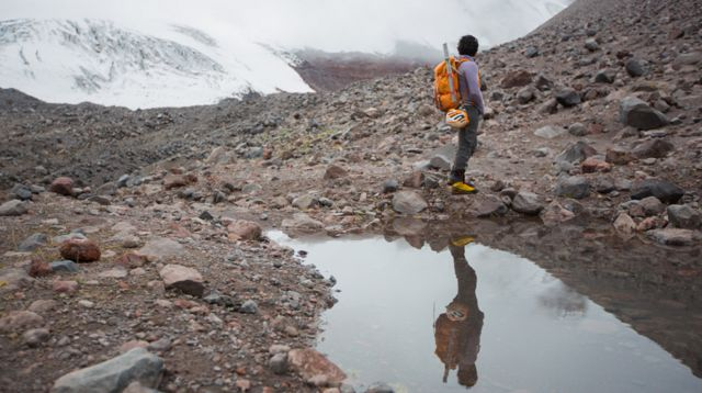 Juliana García en el volcán Antisana