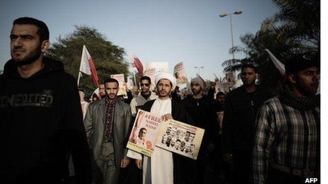 Manifestantes no Bahrain