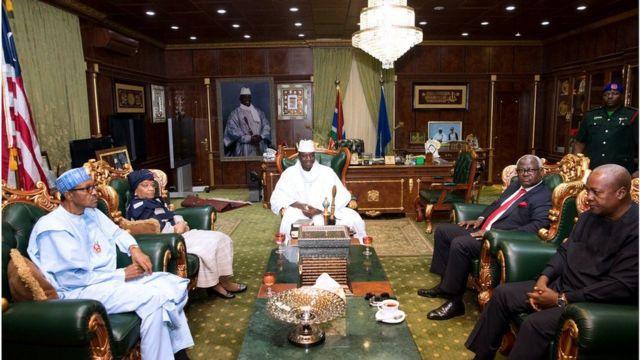 Shugaban Gambia Yahya Jameh da Muhammadu Buhari na Najeriya da John Mahama na Ghana