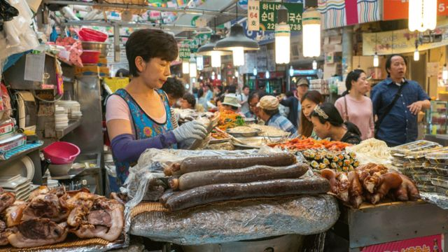 Pork being sold at a market in Seoul, South Korea