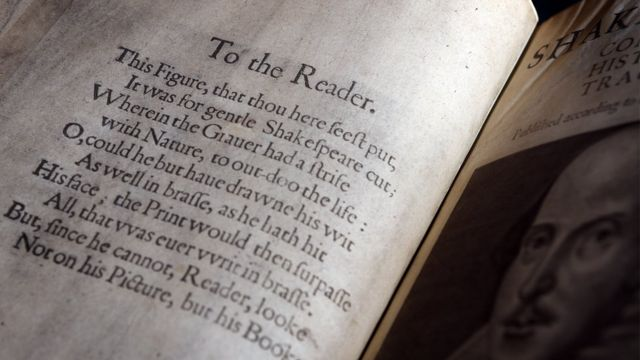 Primer folio de Shaklespeare.