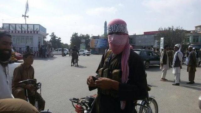 A Taliban fighter in the main square earlier in the week
