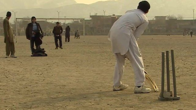 Ad-hoc cricket pitch in the sand