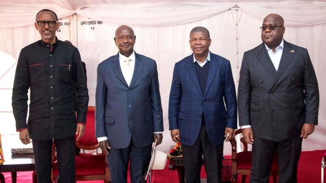 Pa Prezida Paul Kagame, Yoweri Museveni, João Lourenço na Etienne Tshisekedi i Gatuna itariki 21/02/2020