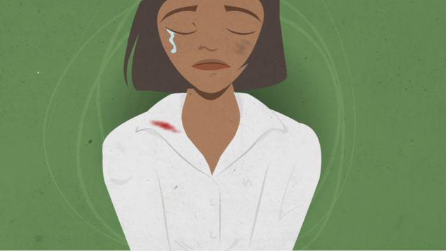 Ilustração de jovem com marca de espancamento no rosto e gola de camisa suja de sangue