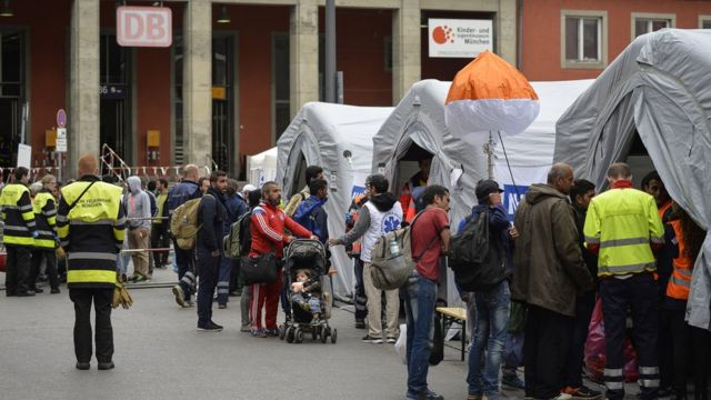 Medical tents at Munich station