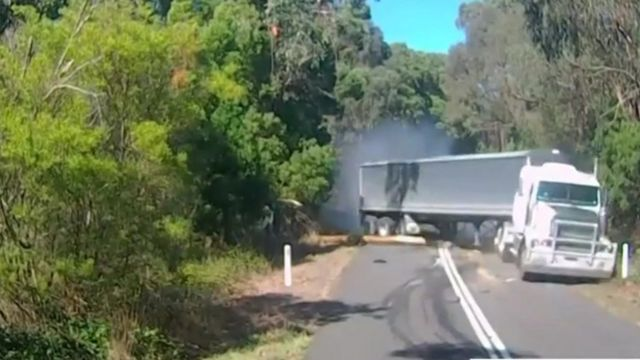 Truck veers out of control in Victoria, Australia