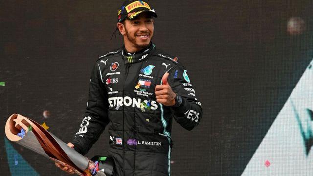Hamilton tras vencer.