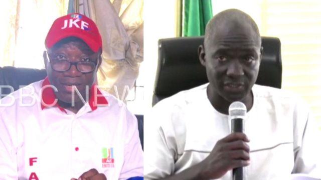 Govnor-elect Kayode Fayemi (na im dey left) and PDP Candidate Olusola Eleka (na im dey right) inside dis foto.