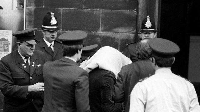 Sutcliffe arriving at court