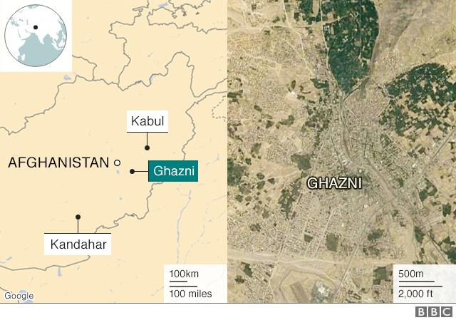 Map showing Ghazni, Kabul and Kandahar