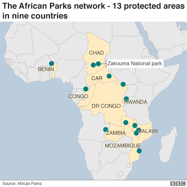 Map showing the African Parks network