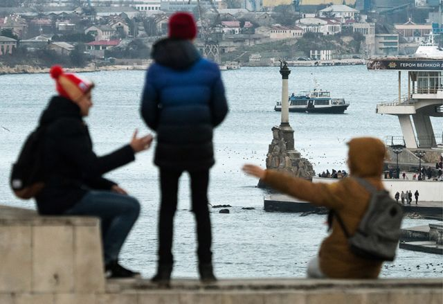 SEVASTOPOL, RUSSIA - FEBRUARY 3, 2018: A view of the Sevastopol Bay and a monument to sunken ships from Cape Khrustalny.