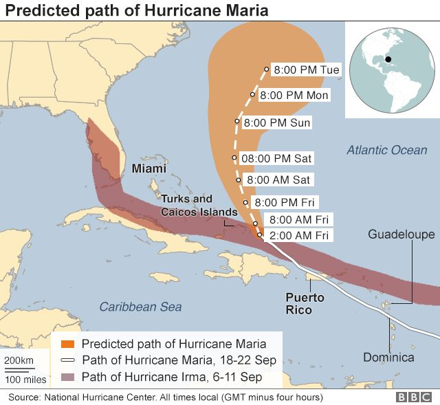 The projected path of Hurricane Maria
