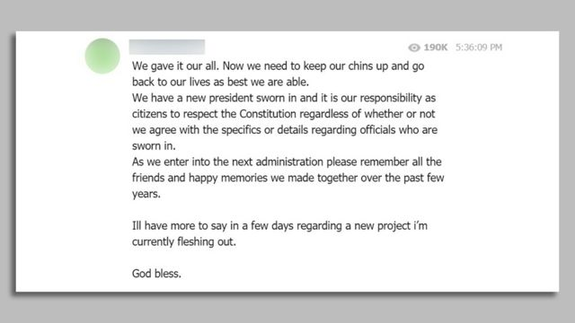 Screenshot of a post by Ron Watkins, a popular QAnon influencer, on Telegram, telling followers they have a responsibility to respect the Constitution, and urging them to remember all the friends and happy memories they made together