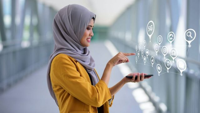 A woman with a mobile phone