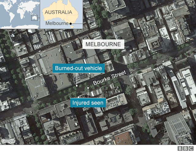 A map showing the location of the attack