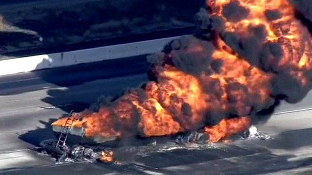 A fuel tanker on fire in California
