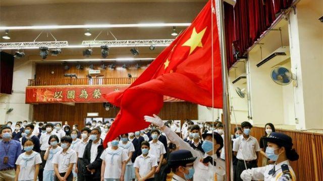 香港学生们参与国家安全日的活动。