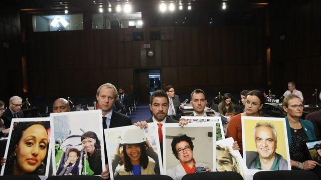 اعضای خانواده های کسانی که در پرواز ۳۰۲ خطوط هوایی اتیوپی کشته شدند