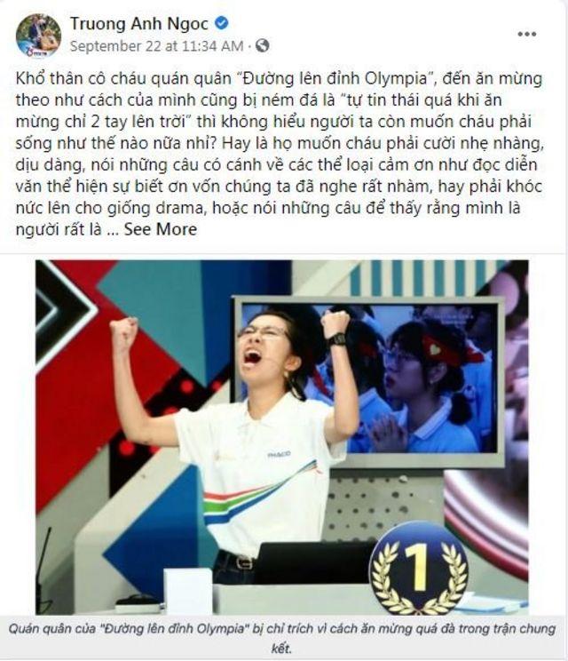 Nhà báo Trương Anh Ngọc bình luận về sự chỉ trích gay gắt của cộng đồng đối với quán quân nữ của chương trình năm nay.