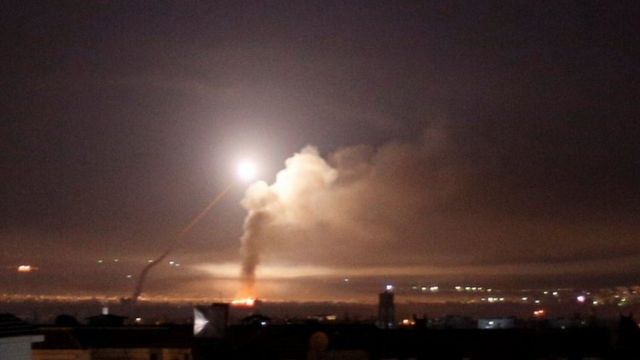 Missile fire seen over Damascus on 10 May 2018