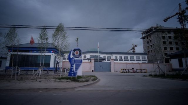 The outside of one of the camps in Xinjiang