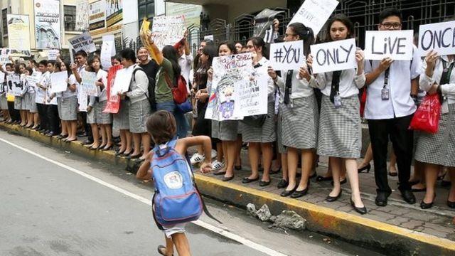 تظاهرات مخالفان دوترته