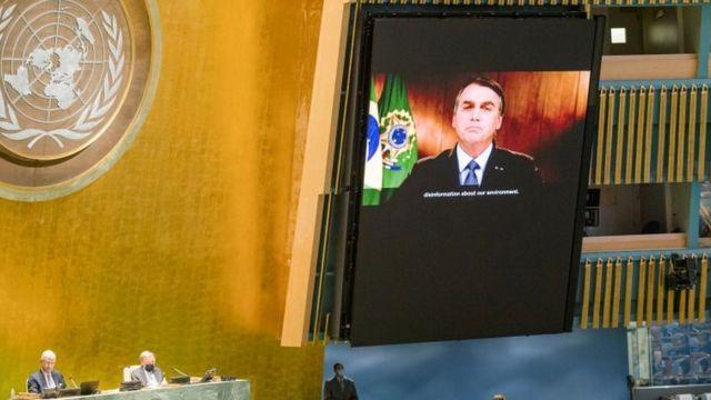 Pronunciamento de Bolsonaro é exibido em plenário vazio da Assembleia Geral da ONU