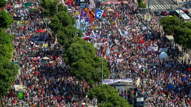 Protest in Rio de Janeiro on Saturday May 29.