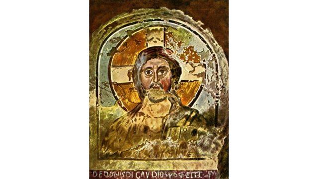 Jesus representado em pintura com auréola cruciforme