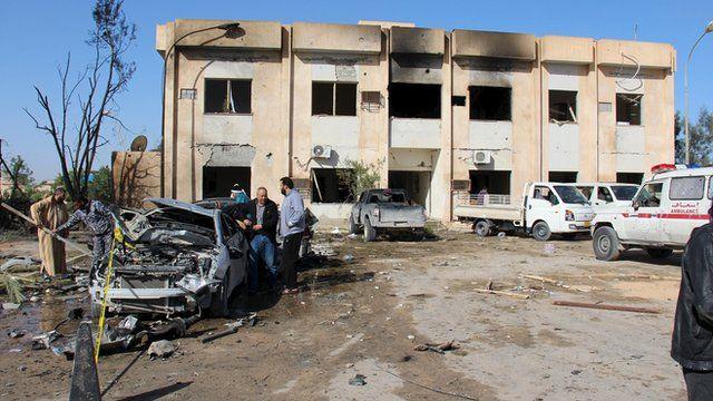 The scene of an explosion in the town of Zliten, Libya.