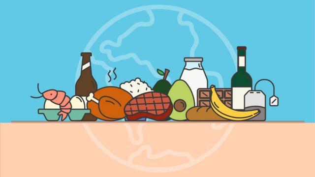 Ilustración de alimentos sobre una mesa