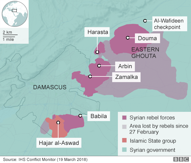 Map showing control of the Eastern Ghouta on 20 March 2018