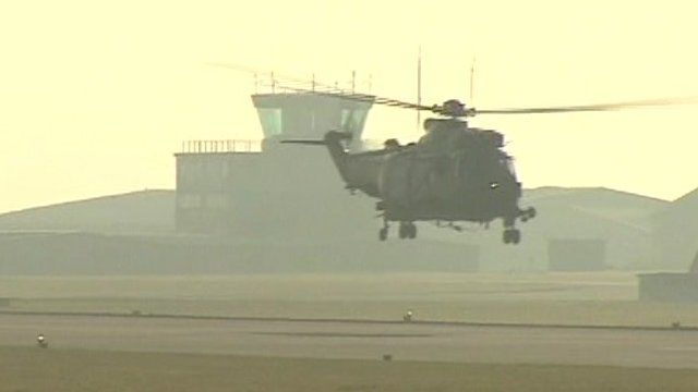A Sea King helicopter leaving RNAS Yeovilton in Somerset where it has been based