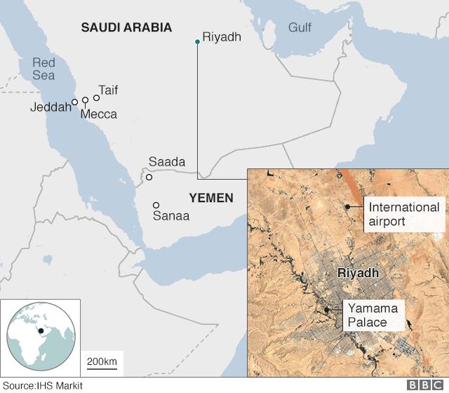 Map showing Yemen, Saudi Arabia and close-up of Riyadh