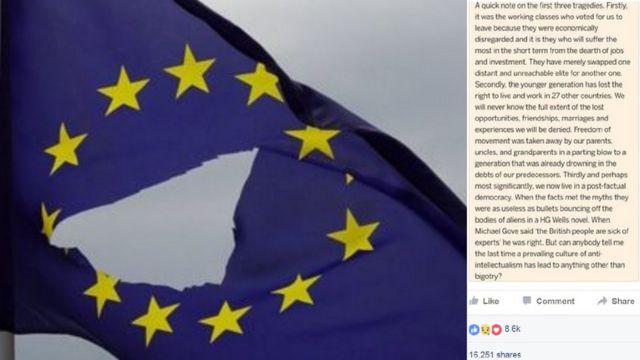 Comentário de britânico que atribui a 'pais, tios e avós' a 'culpa' pela saída do Reino Unido da União Europeia virou símbolo da insatisfação de parte da juventude