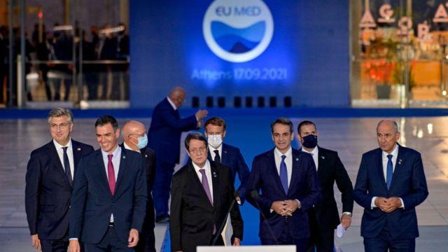 قادة مجموعة تحالف دول جنوب الاتحاد الأوروبي: كرواتيا وقبرص وفرنسا واليونان وإيطاليا ومالطا والبرتغال وسلوفينيا وإسبانيا، في أثينا