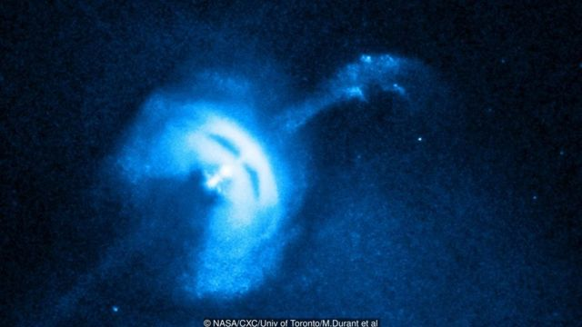 One theory for the source of fast radio bursts is that they come from high energy pulsars being consumed by a black hole