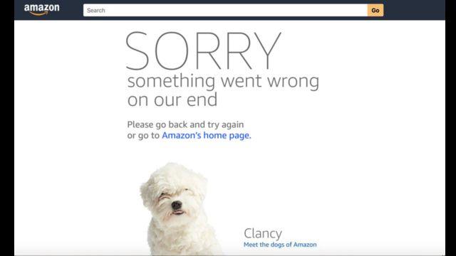アマゾンのサイトに表示されたエラーメッセージ