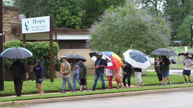 Demonstrators outside the clinic