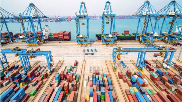 An aerial view of a port in Qingdao in China's eastern Shandong province, March 2019