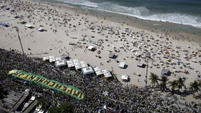 Protesto pelo impeachment de Dilma Rousseff, no Rio, em 2015