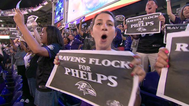 Baltimore fans cheer for Michael Phelps