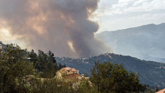 El humo de un incendio forestal en la región de Kabylie.