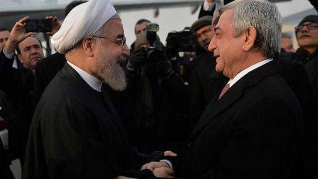 Ruhani prezident seçiləndən sonra ilk dəfədir Ermənistana səfər edir