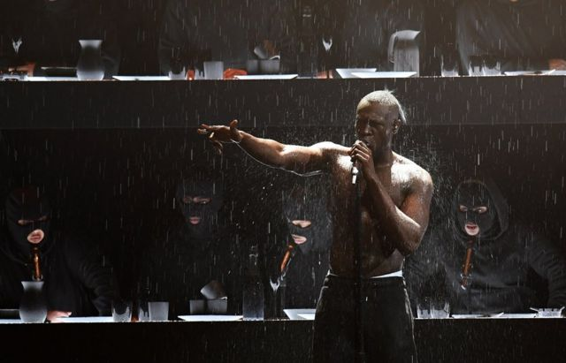 Stormzy performs on stage during the 2018 BRIT Awards show held at the O2 Arena, London, on 21 February 2018