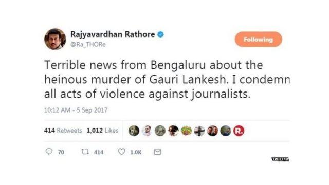 Rajyavardhan Rathore Twitter